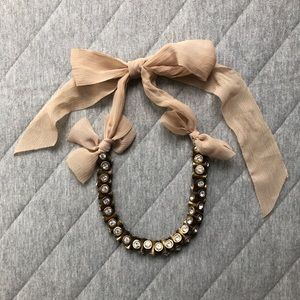 J. Crew Gemstone Ribbon Tie Necklace